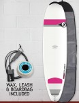 Bic DURA-TEC Wahine Mini Nose Rider surfboard 7ft 6 package - Pink