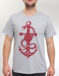 Hold Fast Snake & Anchor T Shirt - Heather Grey