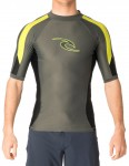 Rip Curl Wetsuits Stripe Short Sleeve Rash vest - Charcoal/Lime