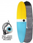 ABC Gambler surfboard package 7ft 6 - Blue/Yellow