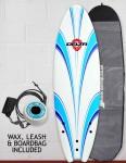 Alder Delta Hybrid Fish Foam surfboard 6ft 6 Package - White/Blue