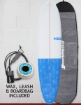 Blue Dot Mini Mal Surfboard 7ft 6 Package - Dappled Blue