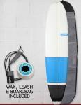 Blue Dot Mini Mal Surfboard Package 8ft 0 FCS - Blue/Black Blocks