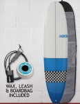 Blue Dot Mini Mal Surfboard 7ft 6 Package - Light Blue/Checkerboard