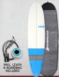 Blue Dot Mini Mal Surfboard Package 7ft 8 - Light Blue/Checkerboard