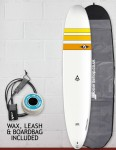 Bic Ace-Tec Noserider Longboard surfboard package 9ft 4 - Yellow