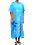 Alder Ladies Printed Poncho changing robe - Blue