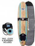 California Board Company Mini Mal Foam surfboard 8ft 0 package - Wood Grain/Blue