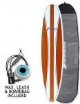 Cortez Mal Veneer Surfboard Package 9ft 0 - Dark Natural Wood