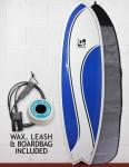 Cortez Fish Surfboard Package 6ft 6 - Blue Swish