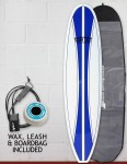 Cortez Funboard Surfboard Package 7ft 6 - Navy Stripe