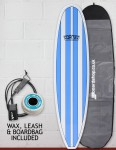 Cortez Funboard Surfboard Package 8ft 0 - Light Blue Stripes