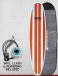 Cortez Funboard Surfboard Package 7ft 6 - Orange Stripe