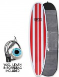 Cortez Funboard surfboard package 8ft 0 - Red Stripe