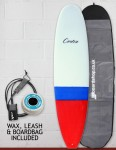 Cortez Funboard Surfboard Package 8ft 0 - Dip Red/Blue Sanded