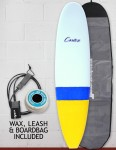 Cortez Funboard Surfboard package 7ft 2 - Blue/Yellow Dip