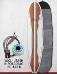 Cortez Mal Veneer Surfboard Package 8ft 6 - Natural Wood