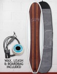 Cortez Mal Veneer Surfboard Package 9ft - Natural Wood