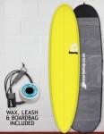 Torq Mod Fun surfboard package 7ft 6 - Yellow/Pinline