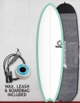 Torq Mod Fish surfboard package 6ft 3 - Sea Green/White/Pinline