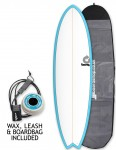 Torq Mod Fish surfboard package 6ft 6 - Blue/White/Pinline