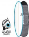 Torq Mod Fun surfboard package 7ft 2 - Blue/White/Pinline