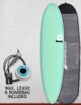 Torq Mod Fun surfboard package 7ft 6 - Sea Green/Pinline
