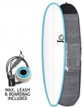 Torq Mini Long surfboard package 8ft 0 - Blue/White/Pinline