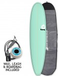 Torq Mini Long surfboard package 8ft 0 - Sea Green/Pinline