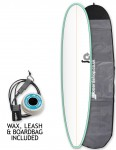 Torq Longboard Surfboard Package 9ft 0 - Sea Green/White/Pinline
