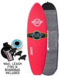 Surfworx Hellcat Mini Mal soft surfboard package 6ft 0 - Red