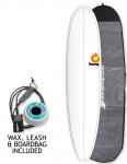 Torq Mini Long surfboard package 8ft 0 - White/Pinline
