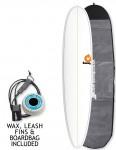 Torq Longboard Surfboard 9ft 0 package - White/Pinline