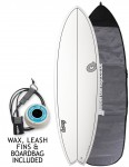 Torq Mod Fish surfboard 5ft 11 package - White/Carbon Strip