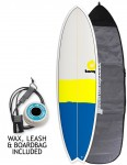 Torq Mod Fish surfboard package 6ft 10 - Blue/Yellow/Grey