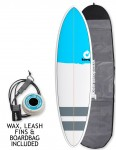 Torq Mod Fun surfboard 6ft 8 package - Blue Nose/Stripes
