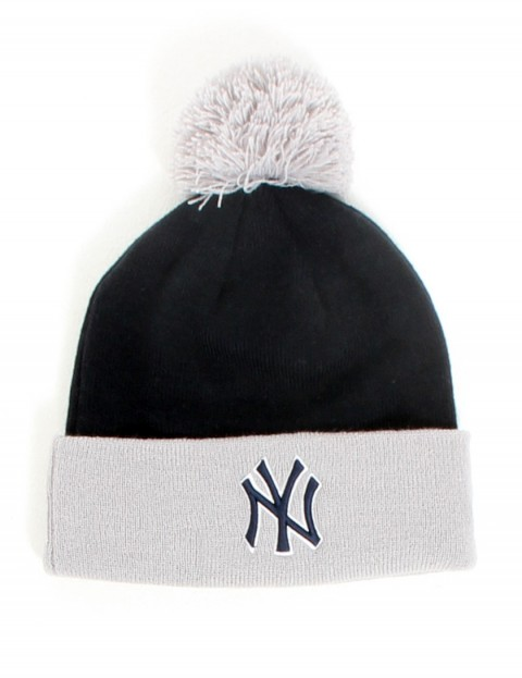 New Era Team Crown New York Yankees bobble cuff beanie - Grey/Navy