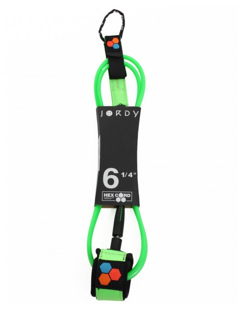 Channel Islands Jordy Standard Hex surfboard leash 6ft - Fluoro Green