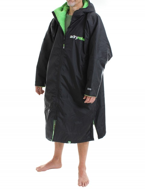 Dryrobe Advance Long Sleeve Adult outdoor change robe - Black/Green