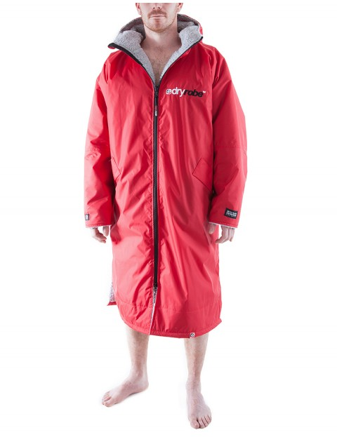 Dryrobe Advance Long Sleeve Adult outdoor change robe - Red/Grey