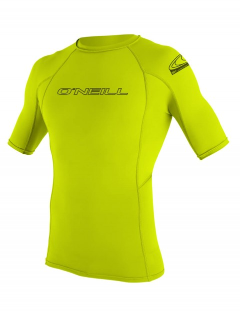 O'Neill Basic Skins Short Sleeve Crew Rash Vest - Lime