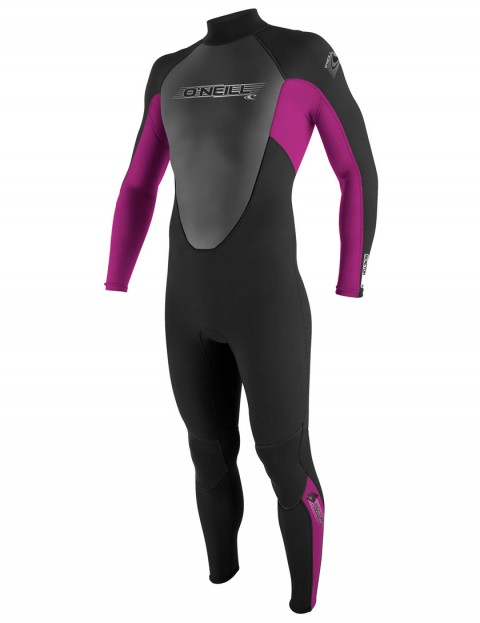 O'Neill Girls Reactor 3/2mm Wetsuit 2017 - Black/Fox Pink/Graphite