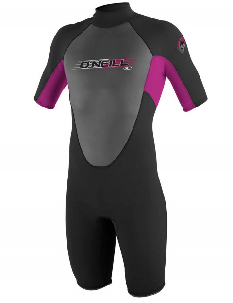 O'Neill Girls Reactor Shorty 2mm wetsuit 2017 - Black/Fox Pink/Black