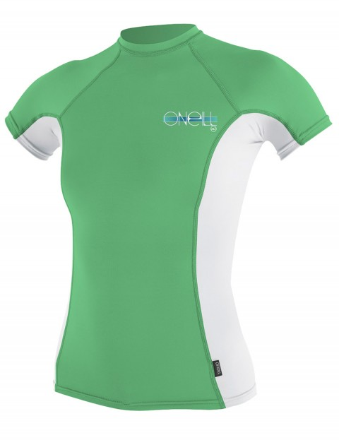 Oneill Wetsuits Ladies Skins Short Sleeve Crew Rash vest - Mint/White/Mint