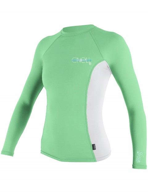 Oneill Wetsuits Ladies Skins Long Sleeve Crew Rash vest - Mint/White/Mint