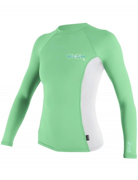 Oneill Wetsuits Ladies Skins Long Sleeve Crew Rash vest - Mint/White/Mint