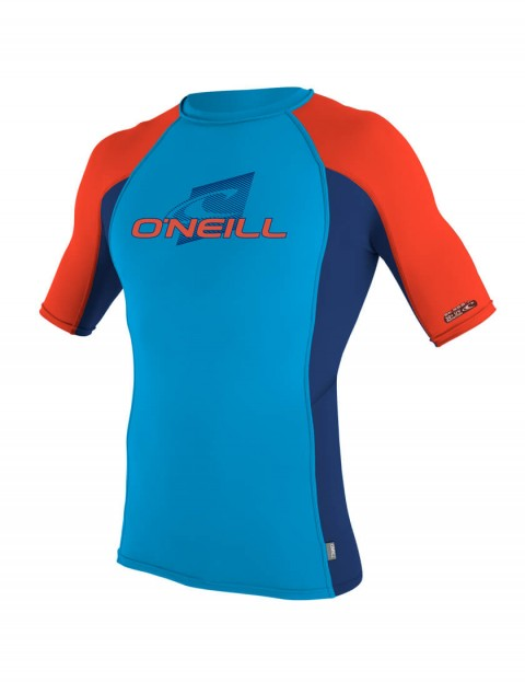 O'Neill Boys Skins Short Sleeve Crew Rash Vest - Sky/Navy/Neon Red