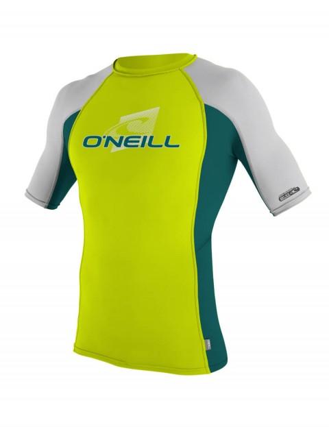O'Neill Boys Skins Short Sleeve Crew Rash Vest - Lime/Deep Teal/Lunar