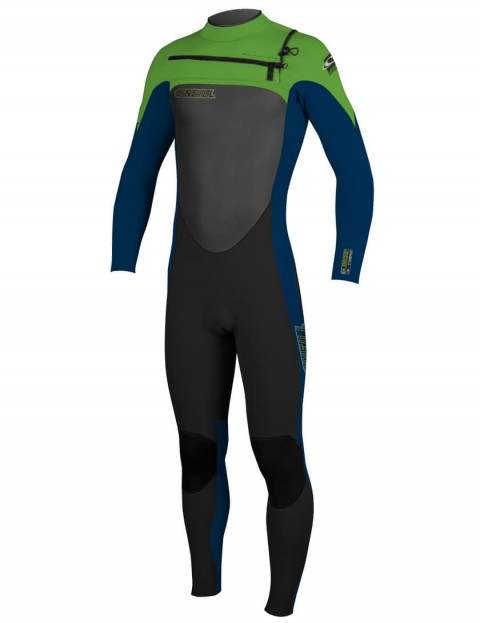 O'Neill Boys SuperFreak Chest Zip 3/2mm Wetsuit 2016 - Black/Deep Sea/Dayglo
