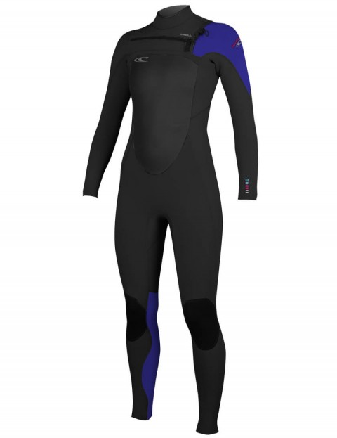 O'Neill Ladies SuperFreak Chest Zip 3/2mm Wetsuit 2016 - Black/Cobalt/Sky